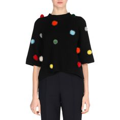 Fendi Elbow-Sleeve Ribbed Cashmere Sweater with Mink Pompoms (15.289.260 IDR) ❤ liked on Polyvore featuring tops, sweaters, black, pom pom pullover, multi color sweater, ribbed sweater, cashmere crew neck sweater and colorful sweaters