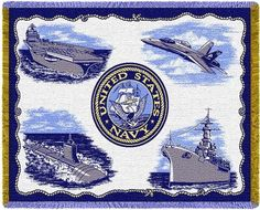 Personalized US Navy Services Military Tapestry Throw
