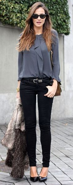 Black and grey. I like the flow of the top with the pants