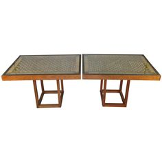 Pair of 1940's Woven Rope Convertible Console & Cocktail Tables | 1stdibs.com