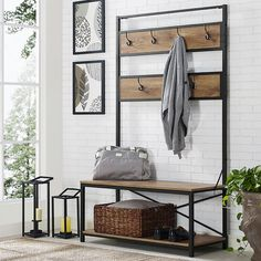 Walker Edison Furniture Company 72 in. Industrial Metal and Wood Hall Tree - Barnwood-HDT72MWBW - The Home Depot