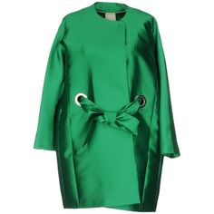 Annie P. Overcoat (15.645 RUB) ❤ liked on Polyvore featuring outerwear, coats, green, over coat, long sleeve coat, green coat and single-breasted trench coats