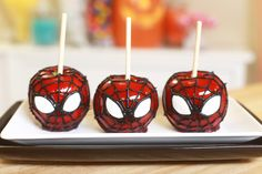 Made Spider-Man Candy Apples for Halloween!
