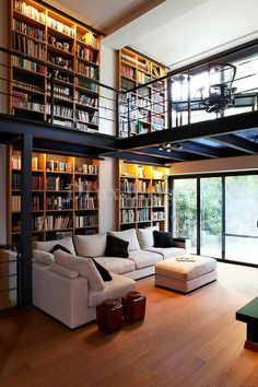 Home Interior Design — modern contemporary living room with mezzanine (. Home Library Design, Loft Design, Deco Design, House Design, Modern Library, Library Ideas, Library Room, Garden Design, Vintage Library