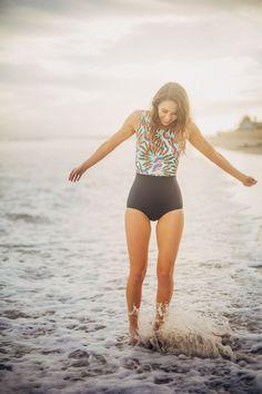 Piper and scoot, Tell the birds, Malibu Swim line Photoshoot. Cute, modest Swimsuits #modestswimwear