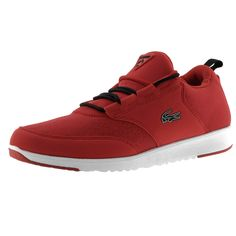 Lacoste Sport Active Light 01 GCOM SPM Running Trainers In Red And Black, Full lace fastening in black with a contrasting red additional top lace. A printed pattern on the toe panel with panelled uppers in synthetic red fabric with a pull tab on the heel in black and a rubberised Lacoste Active logo patch below in red and black. The signature rubberised Lacoste Crocodile logo is situated on the outstep of the shoe in black and white with another rubberised Lacoste Active logo on the…