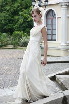 Vintage Ivory Cowl Wedding Dress