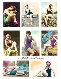 free to use vintage swim collage sheet
