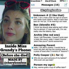 Dentro del teléfono de la señorita Grundy. Sigue a @Cherylconfess en Instagram para más