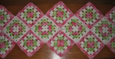 "36-37"" Granny Square Tablerunner made out of Peaches and Cream Yarn"