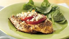 Feta and Roma topped Chicken.I Feta! Very easy and yummy, but I'm the only one in the house who likes Feta ; Feta Chicken, Balsamic Chicken, Healthy Chicken, Grilled Chicken, Baked Chicken, Lemon Chicken, Crockpot, Cooking Recipes, Healthy Recipes