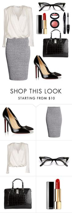 """""""Untitled #208"""" by hallierosedale ❤ liked on Polyvore featuring Christian Louboutin, H&M, Balmain, Giorgio Armani, Chanel, Lancôme, Laura Geller, WorkWear, beautiful and fashionable"""