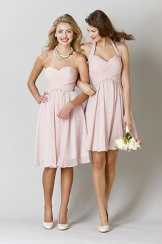 Blush, chiffon bridesmaid dresses are a perfect look for your spring wedding. | 2015 Spring Bridesmaid Dresses