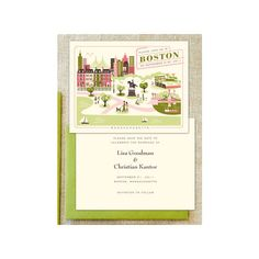 Vintage Boston Destination Wedding Save The Date Cards Visit Boston Bluebell Charcoal Fuchsia From HelloLucky.com - US found on Polyvore
