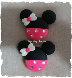 2 count  Polymer Clay Hair Bow Centers Minnie by PegsClayGround