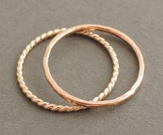 20% off Rose Gold Ring and Gold Twist Ring gift for mum 2 thin