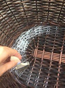 DIY Chalk Painting basket in Americana DecoArt start on the inside