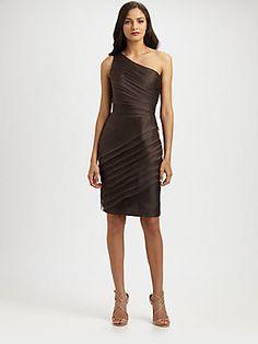 Carmen Marc Valvo Asymmetrical Organza Dress