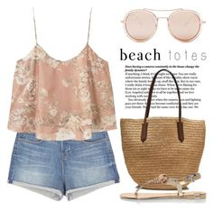 """""""In the Bag: Beach Totes 1836"""" by boxthoughts ❤ liked on Polyvore featuring J Brand, MANGO, J.Crew, River Island, Betsey Johnson and beachtote"""