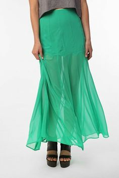 Sparkle & Fade Sheer Chiffon Maxi Skirt - Urban Outfitters