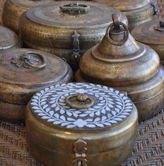 Antique Brass Cooking Utensils Called Charoti Or Baltoi