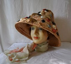 Great Cone Straw Beach Hat With by LastDanceVintage on Etsy