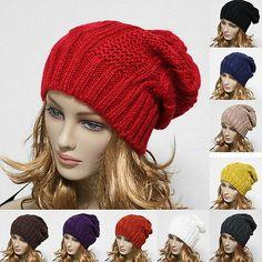 Knit Beanie Men's Women's Winter Oversize Hat Ski Slouchy Cap Chic Unisex New Slouchy Beanie, Beanie Hats, French Beret Hat, Ponytail Beanie, Crochet Wool, Winter Hats For Women, Unisex, Knitted Hats, Knitting