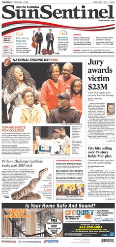 #20160204 #USA #FLORIDA #FtLAUDERDALE #SunSentinel Thursday FEB 4 2016 http://www.newseum.org/todaysfrontpages/?tfp_show=80&tfp_page=2&tfp_id=FL_SS