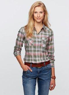 Camisa Xadrez Manga Longa (Verde Oliva/Rosa)