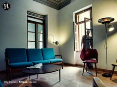City Circus - Athens, Greece Athens Greece, Retro Furniture, Neoclassical, Wooden Flooring, Hostel, Cozy, Wall, Home Decor, Wood Flooring