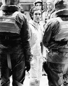 Carrie Fisher filming the Hoth evacuation scene for The Empire Strikes Back, circa 1979.