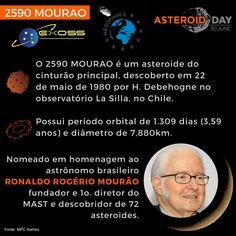 """🇧🇷#SÉRIE ASTEROIDES """"BRASILEIROS""""🇧🇷 - Pra esse ano de 2018 a Exoss escolheu como tema de trabalho apresentar ao público os asteroides que foram nomeados com nomes de brasileiros.  Continuando a série de divulgações Asteroid Day 2018, temos o astrônomo Ronaldo Rogério Mourão  nascido em 25 de maio de 1935, com asteroide 2590 MOURÃO,  🌑🗓FALTAM 40 DIAS PARA O ASTEROID DAY"""
