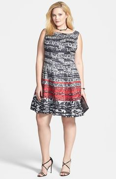 Gabby Skye Lace Print Fit & Flare Dress & Accessories (Plus Size)  available at #Nordstrom