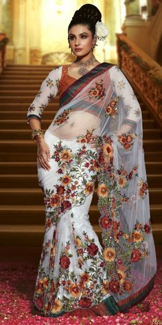 Brown & White Floral Saree