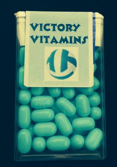 This is the front of the personalized labeled Tic Tacs that I made for my daughter's Nicolet Knights junior varsity volleyball team. Instead of Tic Tacs it says Victory Vitamins! Or cill pill Volleyball Crafts, Volleyball Party, Volleyball Mom, Basketball Party, Coaching Volleyball, Volleyball Sayings, Volleyball Drills, Girls Basketball, Girls Softball