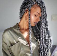 Grey twists l Black hair