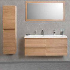 meuble vasque en chne avec colonne de salle de bain suspendremiroir honolulu port - Meubles Salle De Bains Delpha Unique Ice 120 Soldee