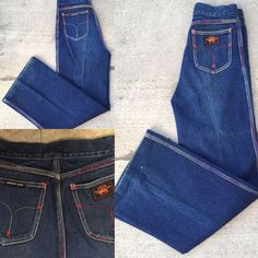 "VTG Union Gap Wide Leg Jeans Colorful Stitching Size 30 27 1/2"" Waist High Waist  