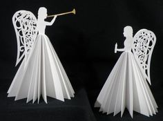 These angels are construced from light weight card stock. They were cut on my KNK Maxx and assembled using glue and a sewing machine. Gold vinyl was cut in the shape of the herald trumpet to add … Continue reading → How To Make Christmas Tree, Easy Christmas Crafts, Christmas Paper, Christmas Angels, Christmas Projects, Simple Christmas, Christmas Tree Decorations, Christmas Time, Christmas Ornaments