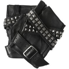 Karl Avery studded leather fingerless gloves ($105) ❤ liked on Polyvore
