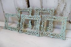 Soft aqua small photo frame set vintage cottage wall decor Anita Spero on Wanelo