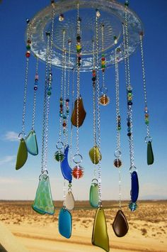 Glass Plate Beach Glass Windchime With Wire Wrapped Glass Marbles and Sand dollar – Beach glass jewelry Glass Wind Chimes, Diy Wind Chimes, Mobiles, Sea Glass Crafts, Beach Crafts, Sun Catcher, Wire Art, Creative, Glass Art