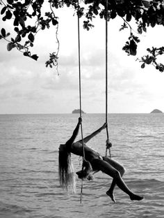 Tree swing over the water