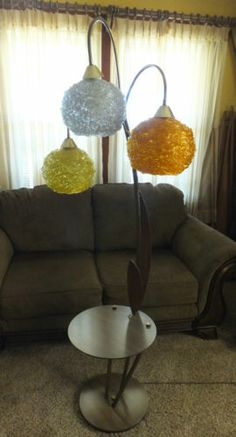 VINTAGE Lucite Spaghetti Lamp Trio w Round Attached Table-UNIQUE Mid Century Mod  love this!!!