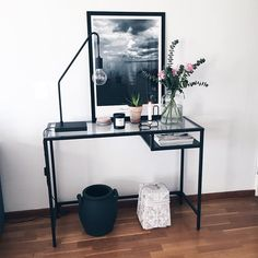Ikea 'Vittsjö' desk as sideboard by @amandaxelssson