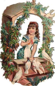 Victorian Die Cut Scrap Girl in Floral Arbor w Pigeons c1880s
