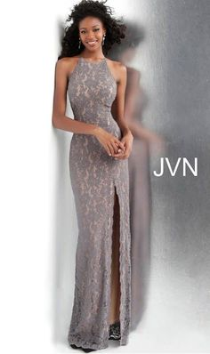 Jovani - Beaded Lace Halter Sheath Evening Gown With Slit - 1 pc Grey In Size 2 Available Grey Prom Dress, Fitted Prom Dresses, Prom Dresses Jovani, Perfect Prom Dress, Prom Dresses Online, Formal Dresses, Gown With Slit, Slit Dress, Sheath Dress