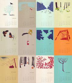 2012 Gocco Printed Wall Calendar by IlsaBrink on Etsy Calendar Layout, Art Calendar, Kids Calendar, Desk Calendars, Calendar Design, Graphic Design Magazine, Magazine Design, Design Bauhaus, Creative Calendar