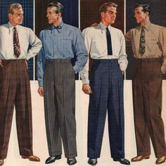Vintage 1940s Men's Pants and Trousers. Classic wide leg, tapered ankle, cuffed and high rise pants. Plaid, stripes, check and sold colors.