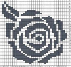 Filet crochet Tricksy Knitter Charts: Rose by skillzyhillzy Filet Crochet Charts, Crochet Stitches Patterns, Knitting Charts, Knitting Stitches, Beading Patterns, Cross Stitch Patterns, Knitting Patterns, Mochila Crochet, Pixel Crochet